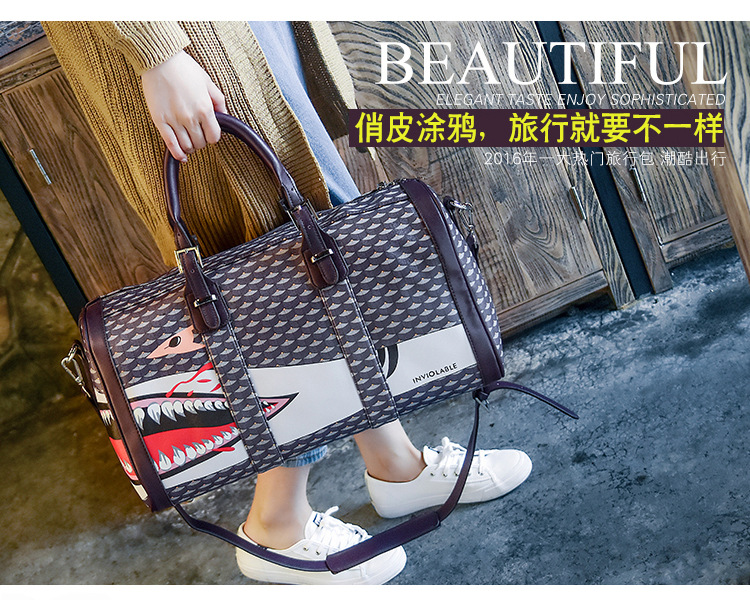 ФОТО High Quality 2016 travel bag large capacity women shoulder strap korean style printing bags wholesale free shipping