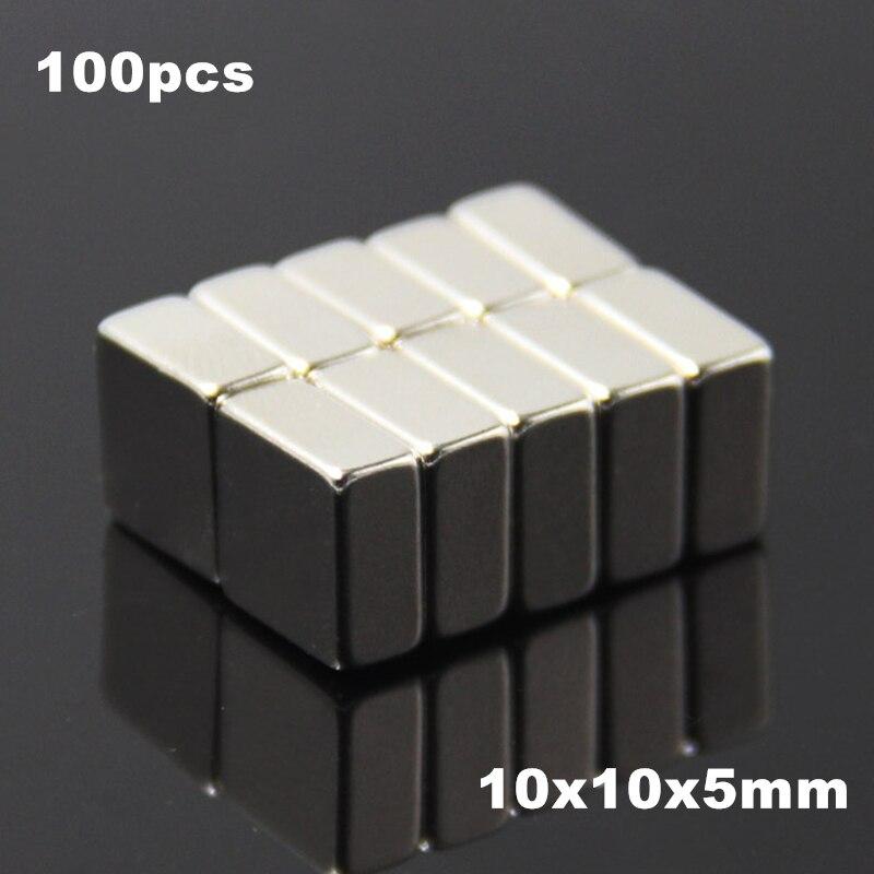 100pcs F10x10x5mm Super Powerful Strong Rare Earth Block NdFeB Magnet Neodymium N35 Magnets F10*10*5mm- Free Shipping(China)