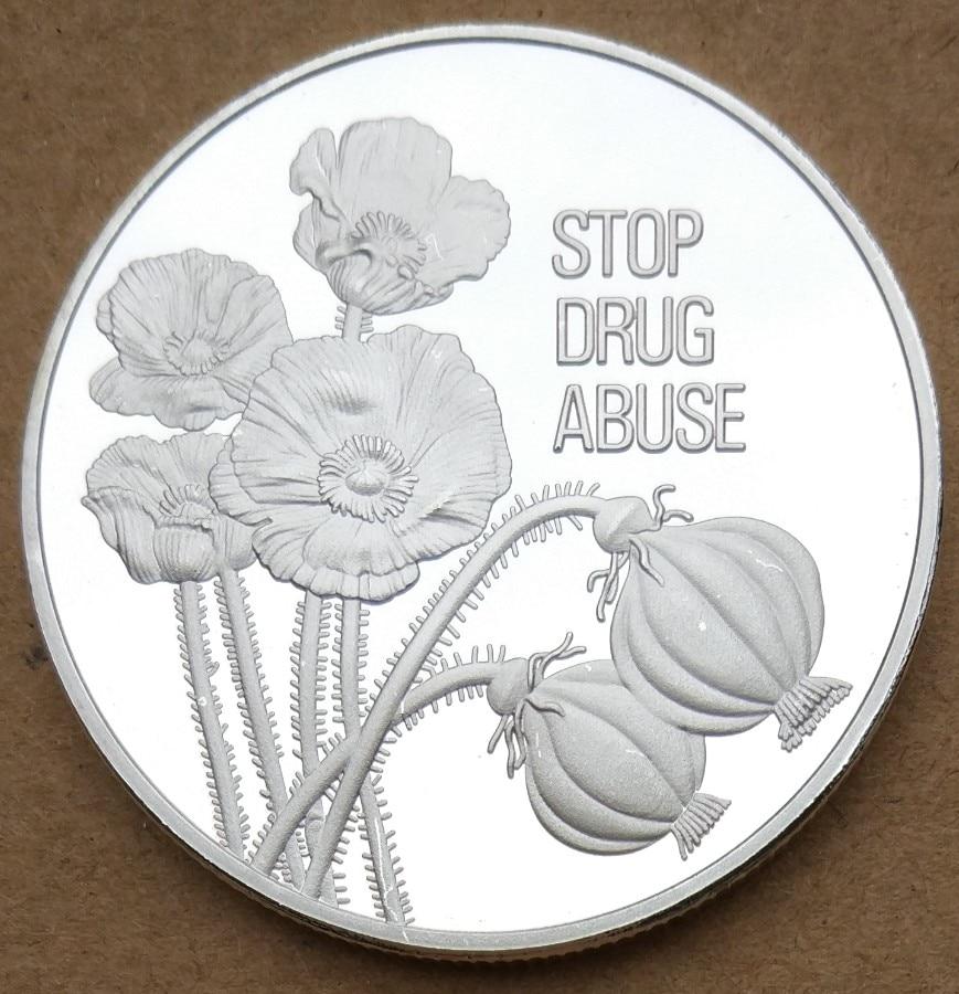 Médaille Souvenir des Nations unies plaqué argent   38mm, arrêter la drogue, labus de drogue, une pièce de monnaie Souvenir