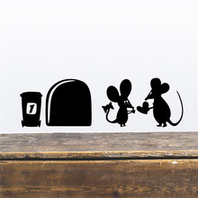 Fashion 1Set Hot High Quality Black Mouse Hole Wall Sticker Switch Wallpaper Funny Closestool Decals Accessories(China)