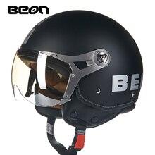 Beon Motorcycle RETRO vintage 3/4 FACE helmets capacete motorbike DOT ECE half helmets B-110B 2016 retro style orange 3 4 motorcycle helmets with inner smoke len fashion half helmets for scooter free gift dot ece 8type