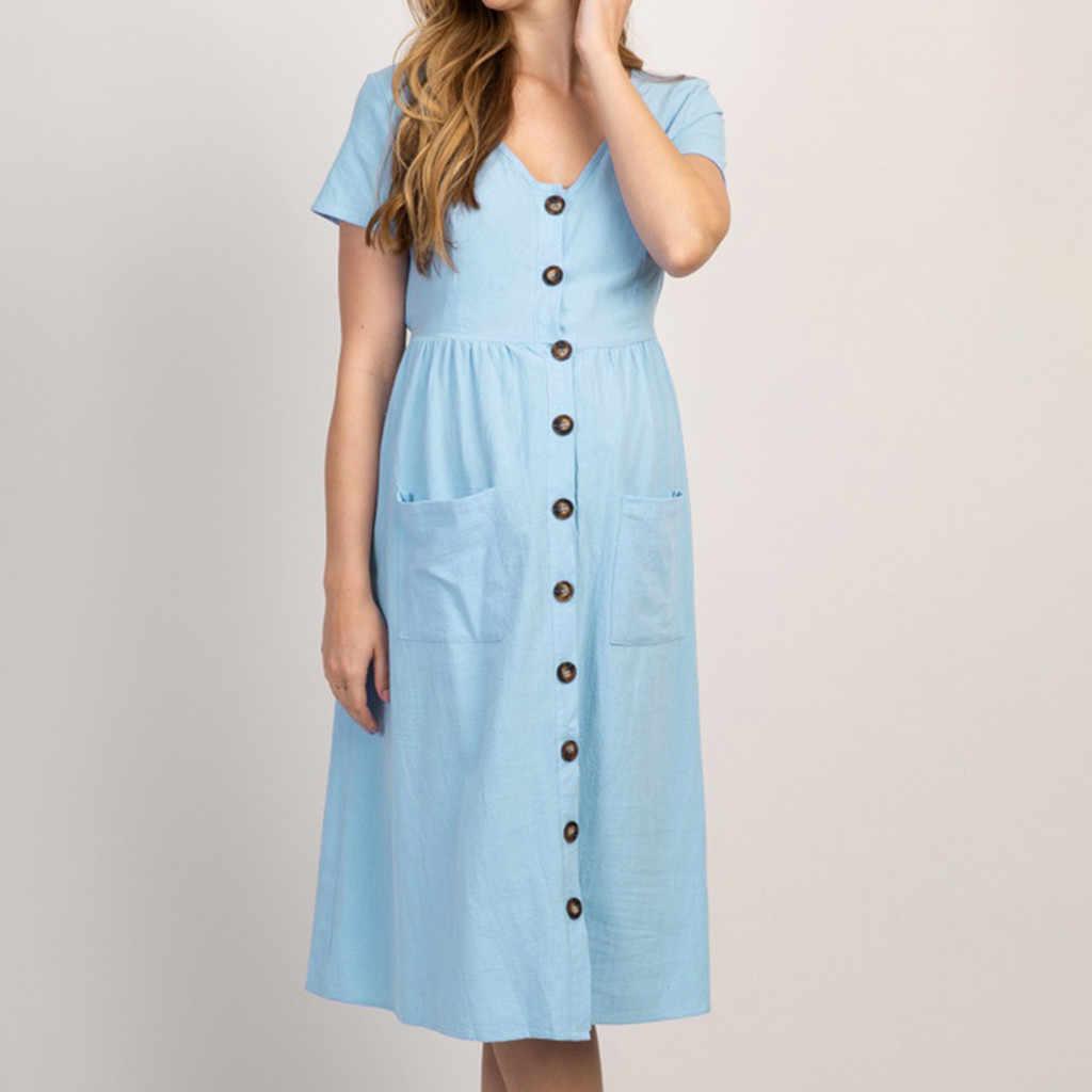 Женское модное однотонное длинное платье на пуговицах с v-образным вырезом и короткими рукавами для беременных, hamile elbisesi vestidos embarazada abiti premaman