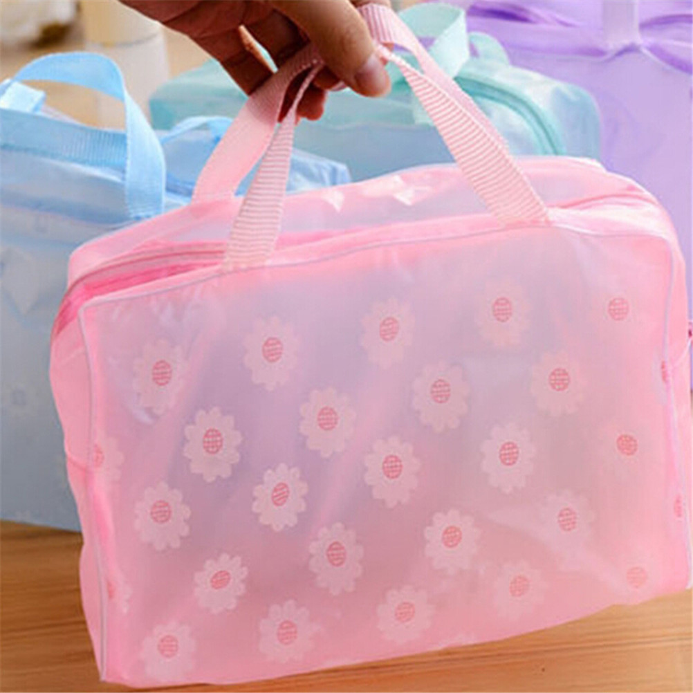 Plastic Waterproof Transparent Organizer Bags Cosmetic Bags Makeup Casual Travel Toiletry Wash Bathing Storage Bags