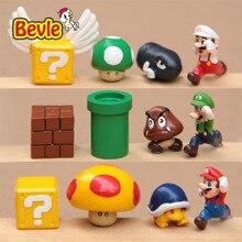 Bevle Super Mario 12pcs/lot Fashion Model Mario Bros Peach Donkey Kong Yoshi PVC Action Figure Model Kit Toy Doll Decoration