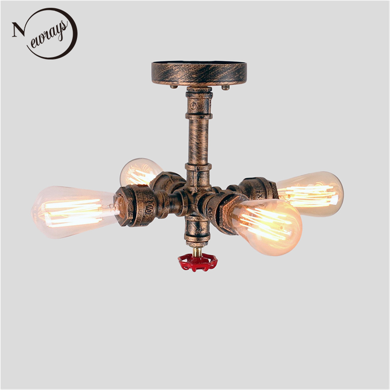 Vintage iron painted creative ceiling lamps E27 LED 220V water pipe ceiling lights for living room bedroom restaurant hotel cafe chandeliers lights led lamps e27 bulbs iron ceiling fixtures glass cover american european style for living room bedroom 1031