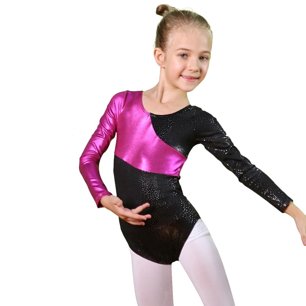 BAOHULU Long Sleeve Gilding Girls Gymnastics Leotard Unitards Bodysuit Teens&Toddler Ballet Dance Suits Dance Leotard For 2-16Y