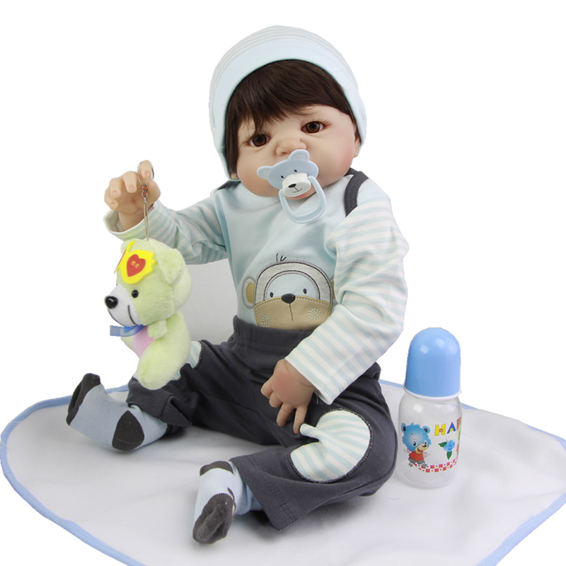 23 Inch Realistic Baby Doll Lifelike Full Body Silicone Baby Reborn Minino Waterproof Reborn Dolls For