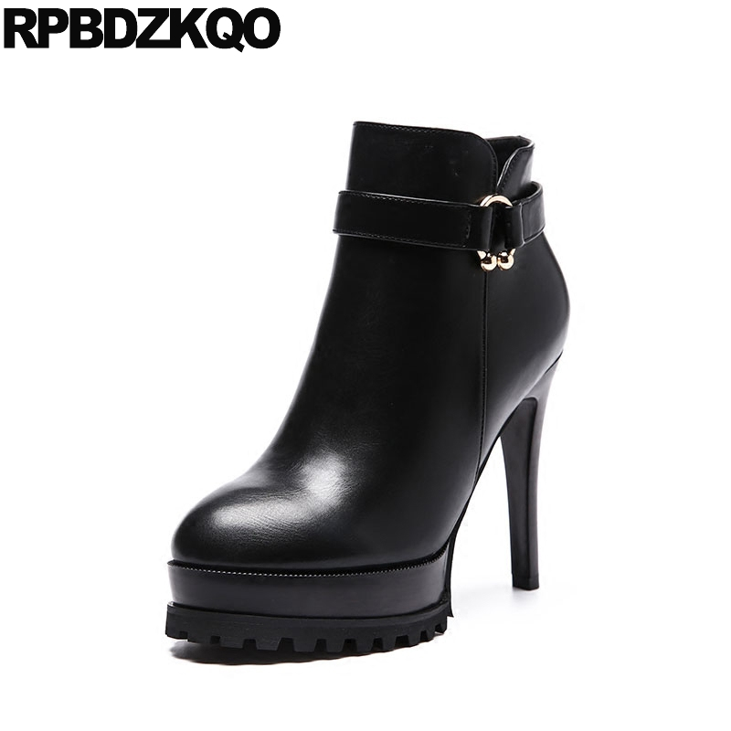 Platform Short Ladies Shoes Side Zip Boots Round Toe Metal Black Ankle Waterproof Booties Sexy Stiletto Zipper Fashion High Heel booties warm shoes winter round toe side zip boots brown real fur flat casual ankle female new ladies 2017 chinese fashion short