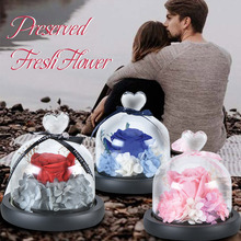 WR Hot Sale Charm Real Touch Everlasting Flowers with heart glass cover best gift for girlfriend Home collection