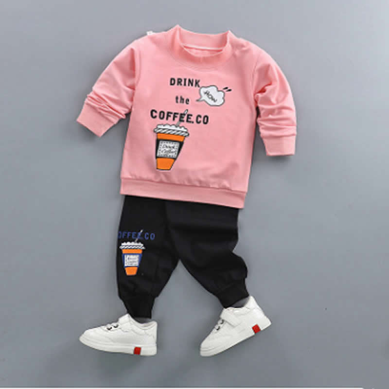 Childrens Clothing 2018 new Spring Autumn Kids Sports Suits Boys and Girls sweater two-piece set Hooded+pants suit