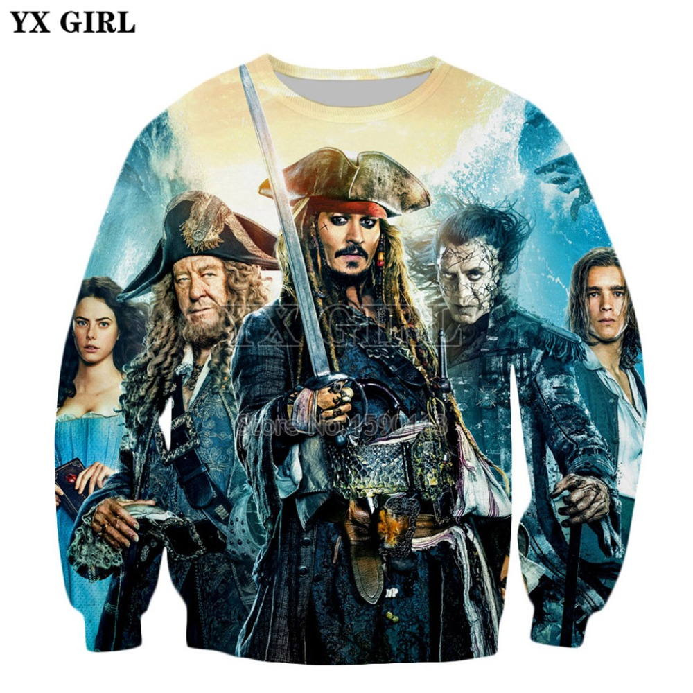 YX GIRL Drop Shipping 2018 New Fashion Mens 3d Hoodies Movie Pirates Of The Caribbean Printed Casual Sweatshirt WY-384