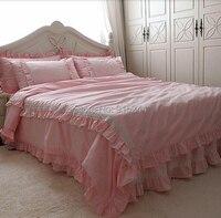 الوردي مزدوجة كشكش الدانتيل الحلو أميرة المنزل مجموعات الفراش bedskirt حاف غطاء وسادة القضية القطن كشكش postoralbeding السعر المنخفض