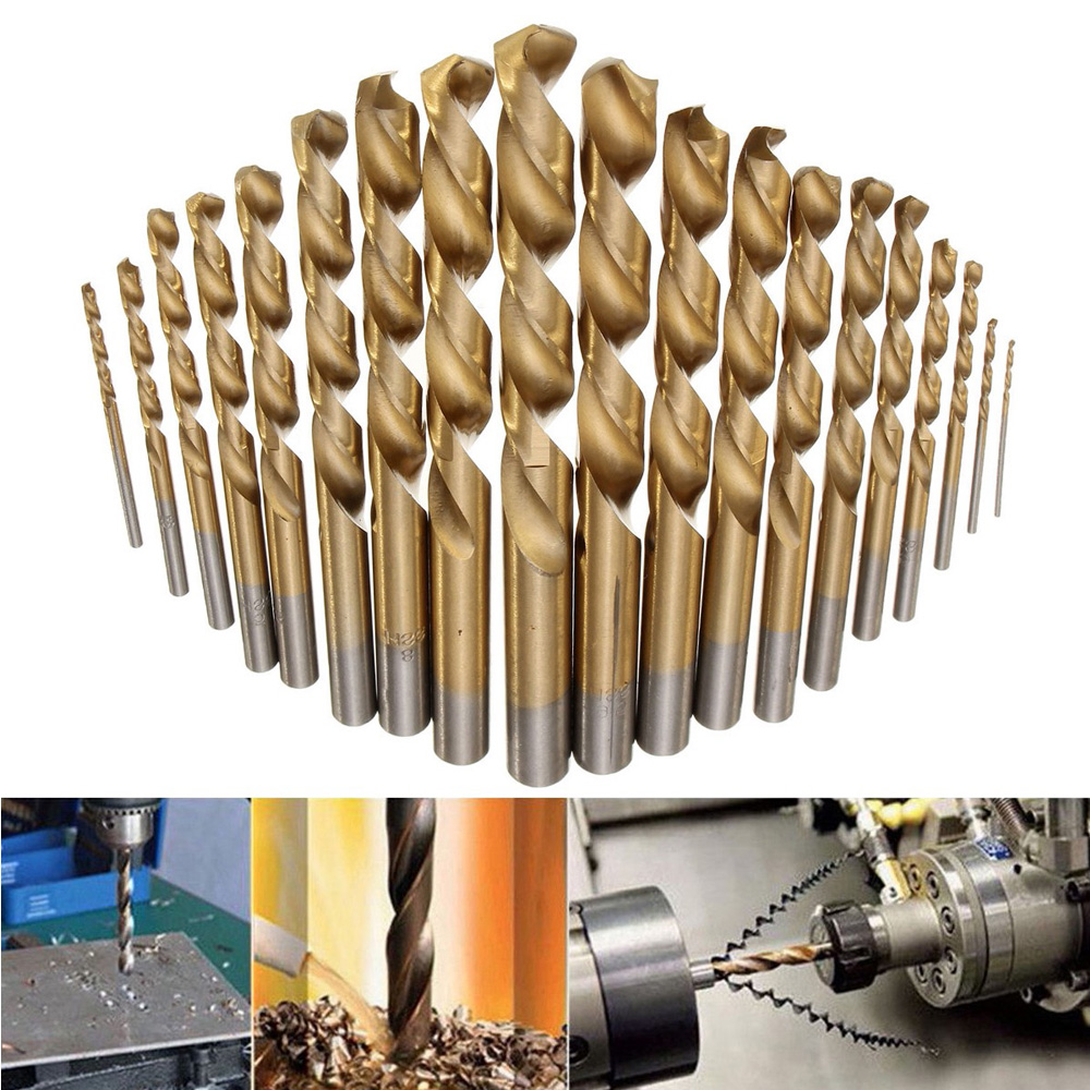 19pcs Titanium Coated Round Shank HSS Twist Drill Bit Set Size 1.0-10mm for Metal / Wood / Plastic Drilling 19pcs hss titanium twist drill bit set high speed steel straight round shank 1 10mm durable power tools for metal drilling