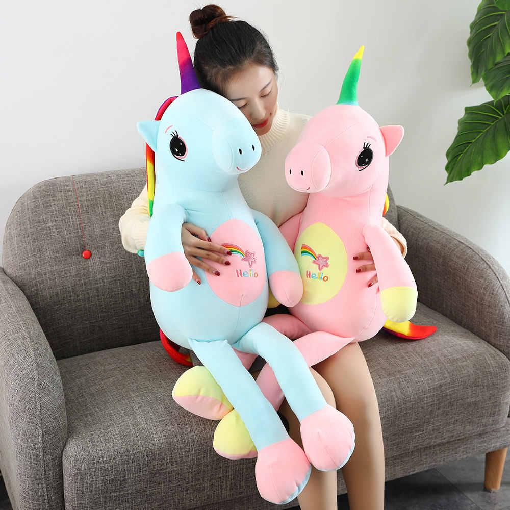 2019 nuevo grande suave unicornio Animal de peluche de juguete de peluche niña regalo juguete sofá almohada cojín decoración del hogar