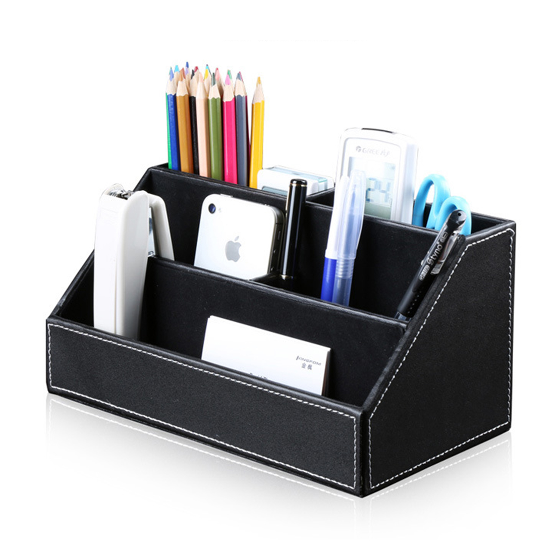 HIPSTEEN 5 Compartment PU Leather Desk Organizer Pen Business ...