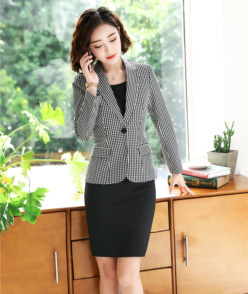 Formal Grey Blazer Women Business Suits Dress And Jacket Sets Work Wear Office Uniform Styles Dress Suits