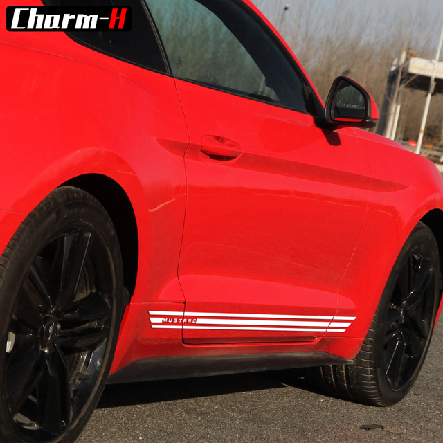 2pcs For Ford Mustang 2017 Rocker Panel Door Side Stripes Vinyl Decals Graphic Stickers