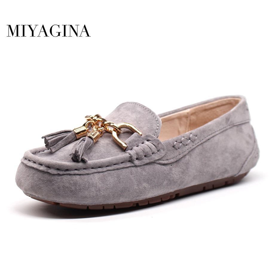 MIYAGINA 100% Genuine leather Women Shoes Female Casual Flats Spring Summer Women Loafers Shoes Slip On Flat Women's Shoes women loafers casual shoes female round toe slip on wide shallow flats lady shoes oxford spring summer shoes for women or910314
