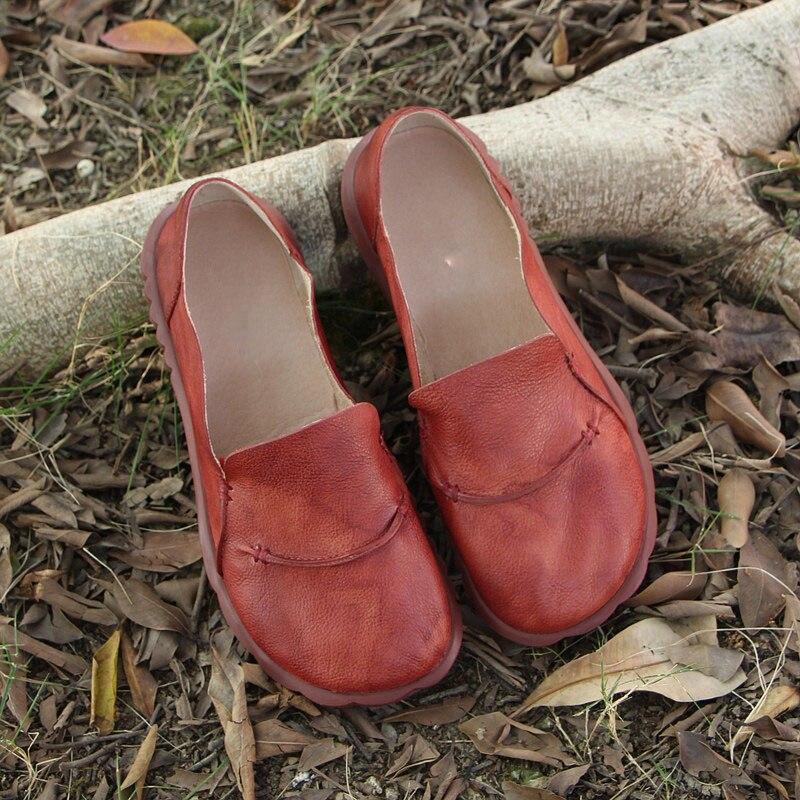 ربيع جديد أحذية نسائية جلدية الفن الرجعية عارضة مريحة مسطحة القاع اليدوية أحذية النساء-في أحذية نسائية مسطحة من أحذية على  مجموعة 3