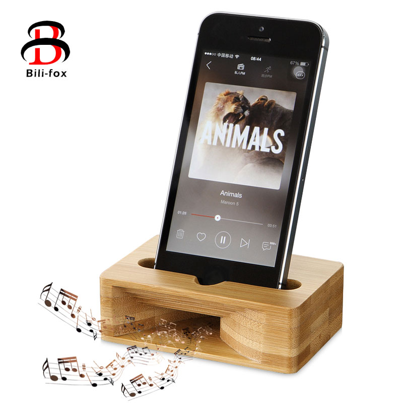 Mobile phone amplifier bracket bamboo holder for samsung iphone huawei desk cellphone dock lazy phone universal wooden base Phone Holders & Stands     - title=