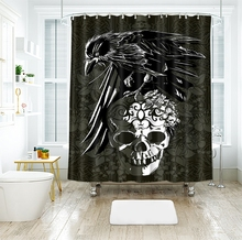 3d Crow and Skull Pattern Shower Curtains Cartoon Bathroom Curtain Thicken Waterproof Thickened Bath Curtain for Halloween waterproof happy halloween ghost bath curtain