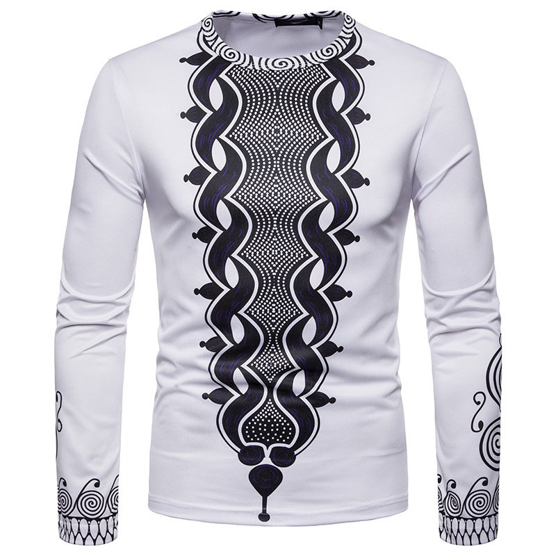 Adult Men African Dashiki Pullover Shirt Casual Round Neck Top Tee White Wear Clothing For Men Plus Size