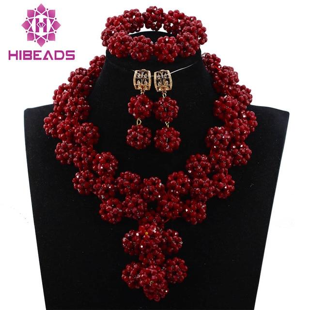 e85da268457b Splendid Borgoña bolas de cristal chunky declaración collar set africano  Cuentas colgante joyería conjunto envío gratis