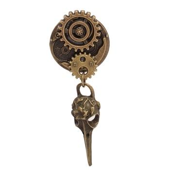 Стимпанк брошка часы металлическая 1