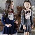 2016 ropa de Las Muchachas del Otoño/invierno niñas vestido de encaje de corea del estilo de ropa de los niños de la escuela las niñas vestido niñas vestidos
