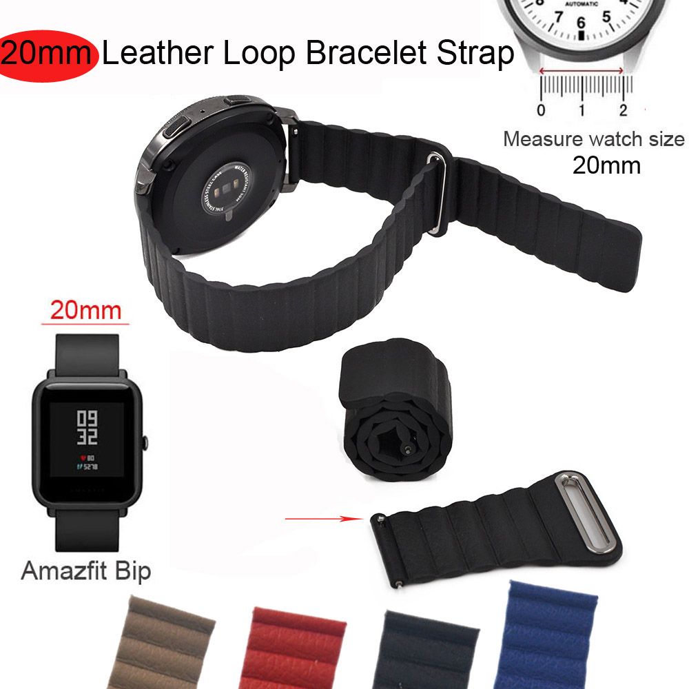 20mm Bracelet Band For Xiaomi Huami Amazfit Bip GTS GTR Watch Strap For Samsung Galaxy Active 42mm Gear S2 S4 Leather Watchband