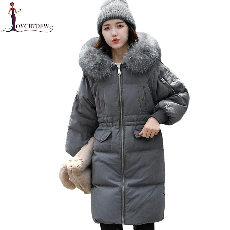 Doudoune hiver femmes Parka 2018 mode nouveau manteau en duvet femmes mi Long grand col en fourrure parkas épaissir Slim vêtements de sortie d'hiver 421