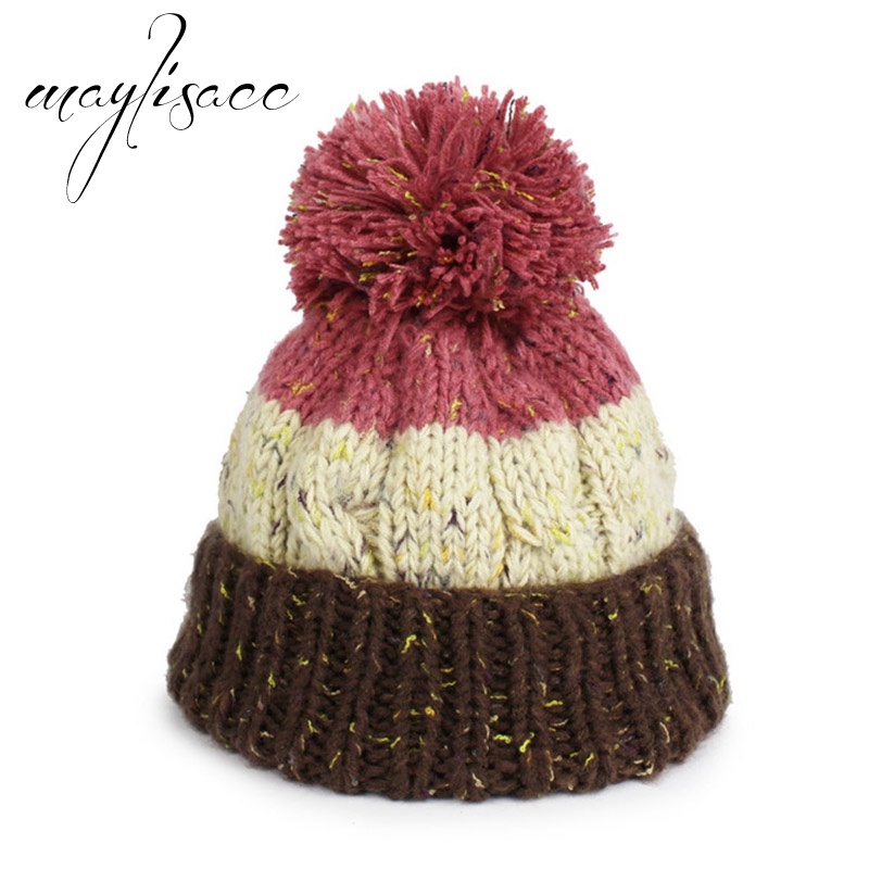 Maylisacc 5 Colors Winter Warm Kintted Thickened Cap Wholesale for Female  Male Skullies Beanies Christmas Outdoor Sports Cap 8f94e3503d4