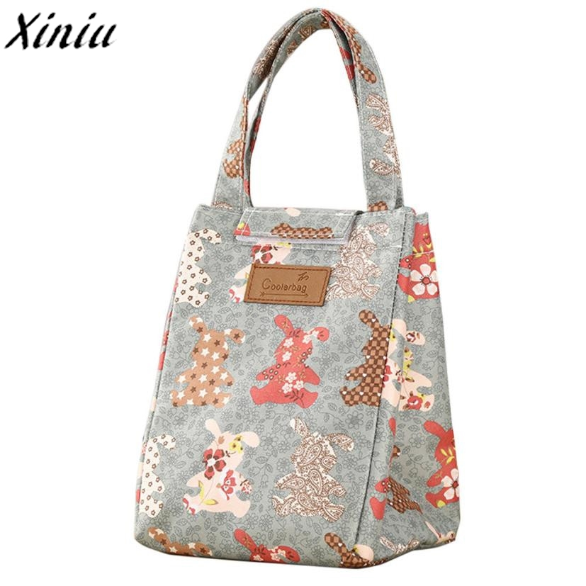 Lunch Bag Printing Portable Insulated Thermal Cooler Box Lunch Food Storage Bag Picnic Container Sac  A Lunch Canvas #7622 cute cartoon women bag flower animals printing oxford storage bags kawaii lunch bag for girls food bag school lunch box z0
