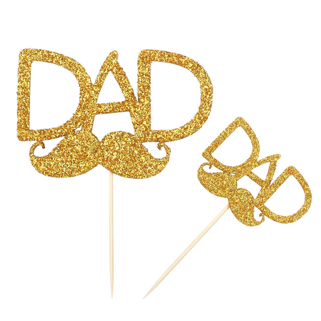 2 PCS Dad Beard Design Cupcake Topper Decorative Cake Picks Sign Sticks For Fathers Day Daddys Birthday Party Decoration
