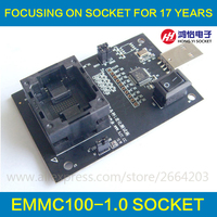 EMMC100 Socket With USB Interface For BGA100 Testing Nand Flash Size 14x18mm Pitch 1 0mm EMMC