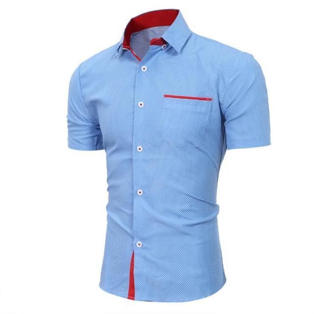 Для мужчин s Повседневное футболка с коротким рукавом Бизнес тонкая рубашка в горошек Блузка Топ Для мужчин рубашка короткий рукав хлопок # GH30 2