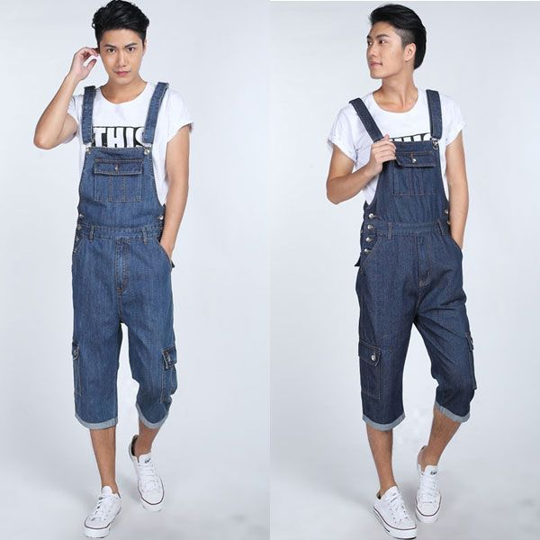 2017 Plus Size 5XL loose Blue Denim Jumpsuit Men Autumn Spring Baggy Overalls Jeans Male Suspender Bib cargo Pants 063001 2014 new fashion men nostalgic vintage light color jeans wash capris pants loose plus size overalls zipper denim jumpsuit