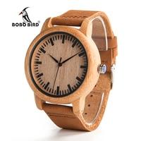 2016 New Arrival Fashion Men Wooden Quartz Watch Erkek Kol Saati High Quality With Brown Leather