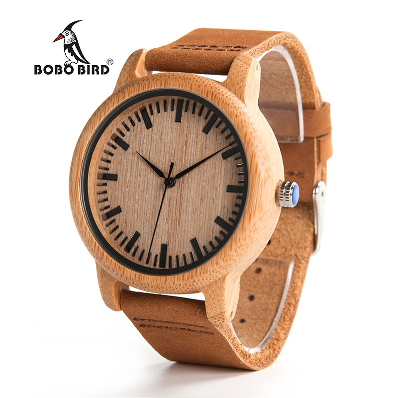 BOBO BIRD V-A16 Fashion Men Wooden Quartz Watch High Quality Bamboo Wristwatch with Brown Leather Band Erkek Kol Saati