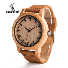 BOBO BIRD V A16 Fashion Men Wooden Quartz Watch High Quality Bamboo Wristwatch with Brown Leather