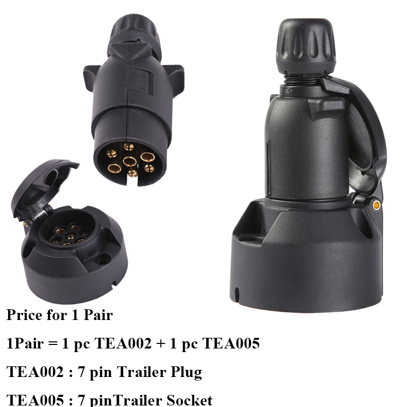 Image 2 - AOHEWEI Towing 1 pc 7 pin Trailer Plug Adapter and 1 pc 7 Pin Caravan Socket  12V 7 Way  European Car  Trailer Truck Connector-in Cables, Adapters & Sockets from Automobiles & Motorcycles