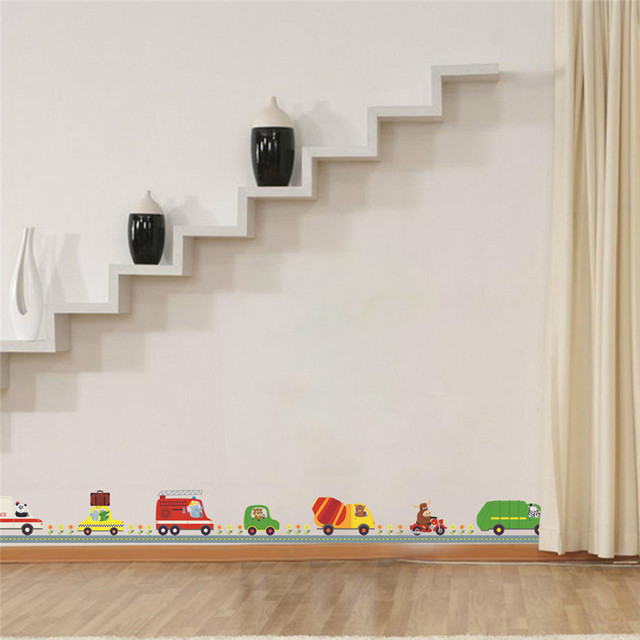 Online Shop Police Ambulance Car Carton Animal Driver Decorative Stickers  Kids Baby Nursery Boys Bedroom Decor Home Decal Mural Poster | Aliexpress  Mobile