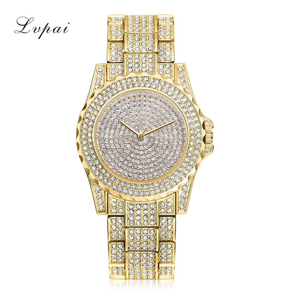 Lvpai Brand Women Dress Watch Luxury Austrian Crystals Watch Rose Gold Shinning Diomand Rhinestone Bangle Bracelet