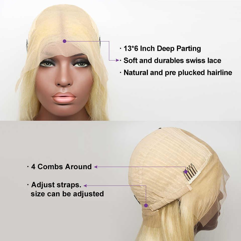 {Sunper Queen} onda del cuerpo 13x6 frente de encaje rizado 8-26 M pelucas de cabello humano Remy color rubio