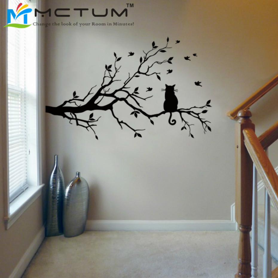 Us 5 99 40 Off Modern Cat Tree Branch Wall Sticker Decals Birds Animal Poster Vinyl Art Stickers Pvc Home Decor Living Room Kitchen Decorations In