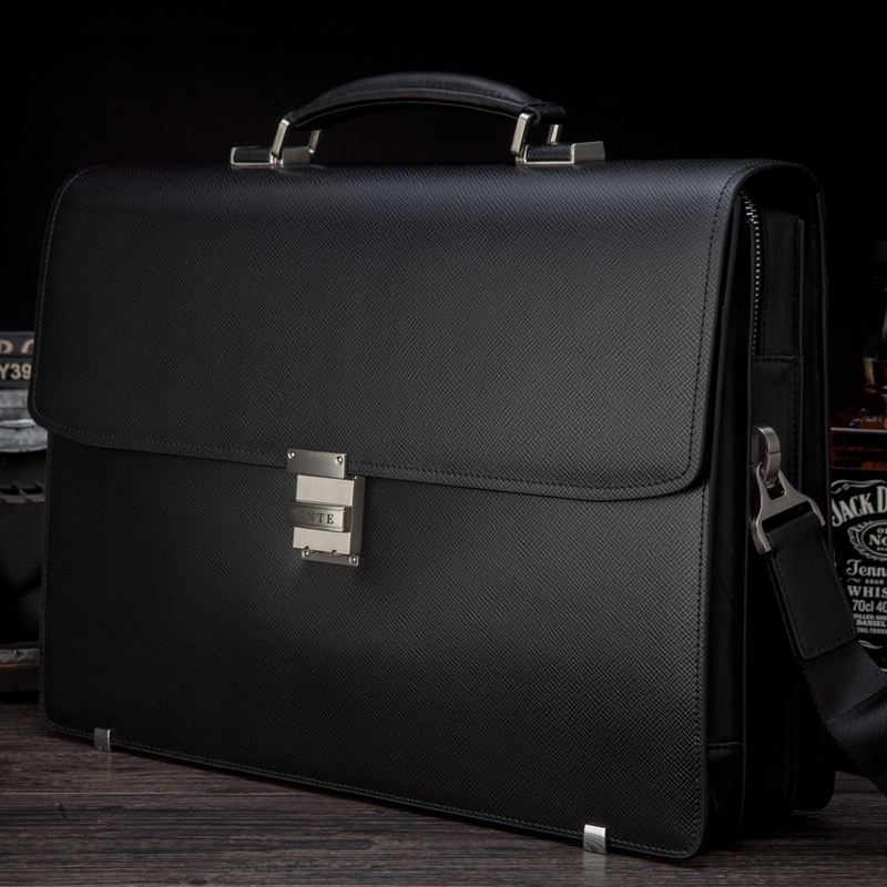 YINTE Luxury Men's Briefcase Leather Bag Men Black Bag Large Capacity Thickening Fit 14 Inch Laptop Totes Portfolio T8556-5