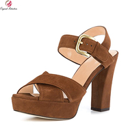 Original Intention 2018 Super Elegant Women Sandals Nice Open Toe Chunky Heels Sandals Beautiful Shoes Woman