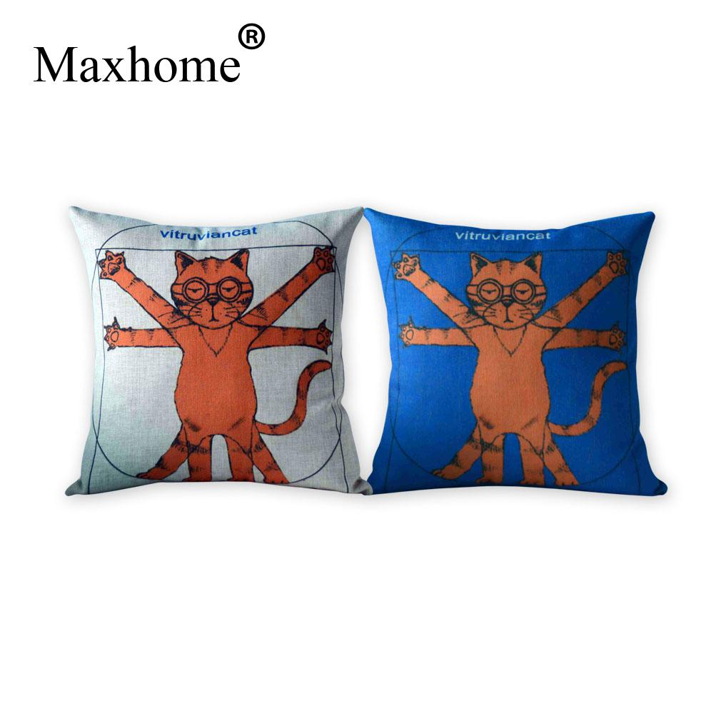 Free shipping Customize Creative vitruvian cat Sofa Cushion Cover Fashion Cat Home Decoration Pillowcase Refinement Cushion
