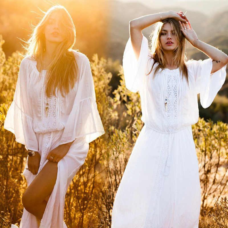 2019 Long Maxi Beach Summer Dress cotton horn sleeve loose Boho Dresses For Women  White Saida 889d7c97f59d