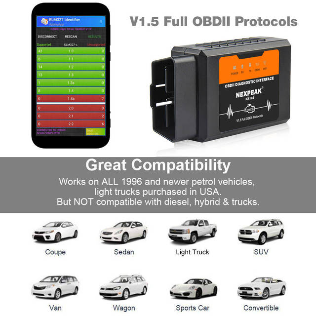 Universal OBD2 WIFI ELM327 pic18f25k80 V 1.5 Scanner for iPhone IOS Auto OBDII Scan Tool OBD 2 ODB II ELM 327 V1.5 WI-FI ODB2